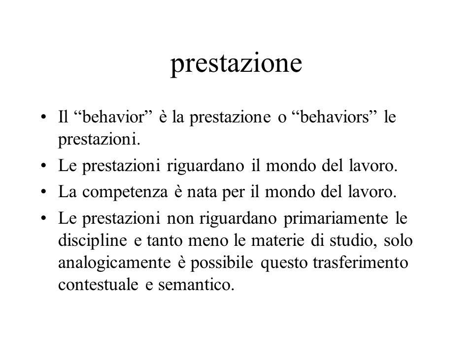 prestazione Il behavior è la prestazione o behaviors le prestazioni. Le prestazioni riguardano il mondo del lavoro. La competenza è nata per il mondo