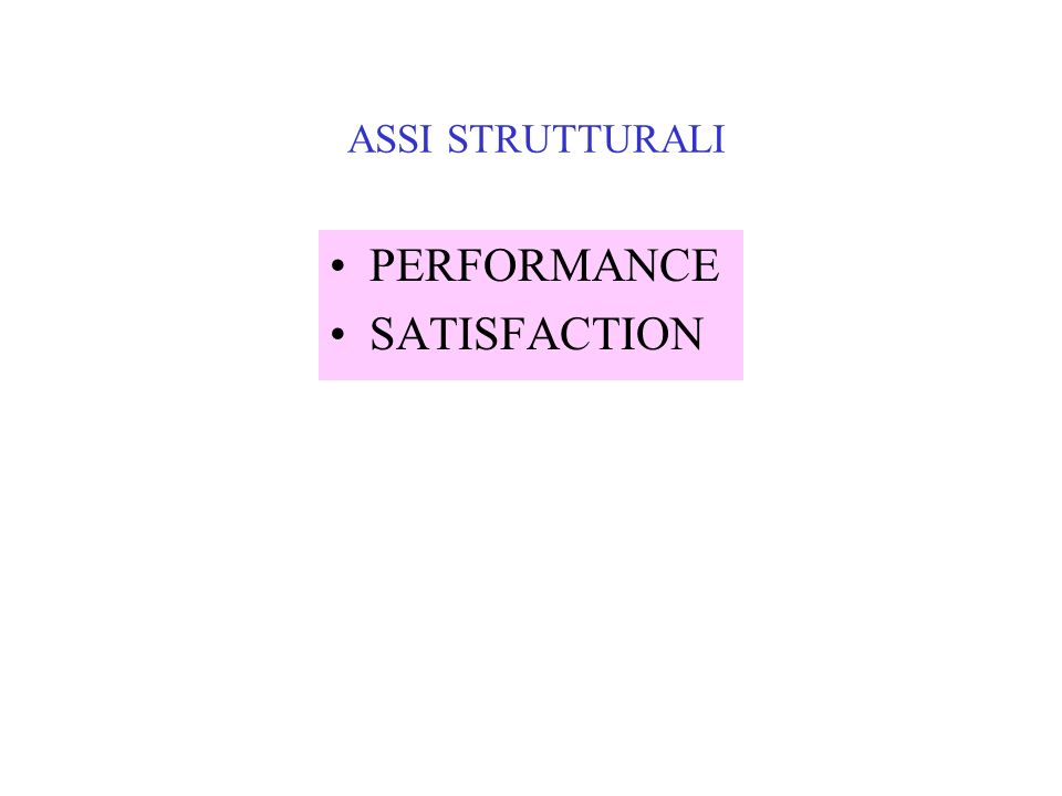 ASSI STRUTTURALI PERFORMANCE SATISFACTION