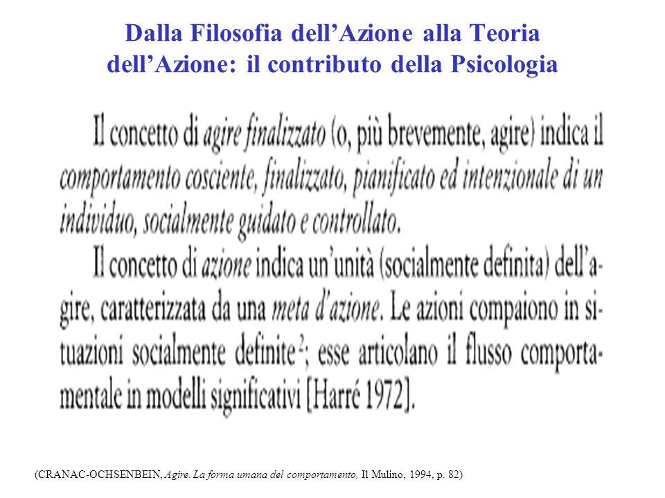 Dalla Filosofia dellAzione alla Teoria dellAzione: il contributo della Psicologia (CRANAC-OCHSENBEIN, Agire. La forma umana del comportamento, Il Muli