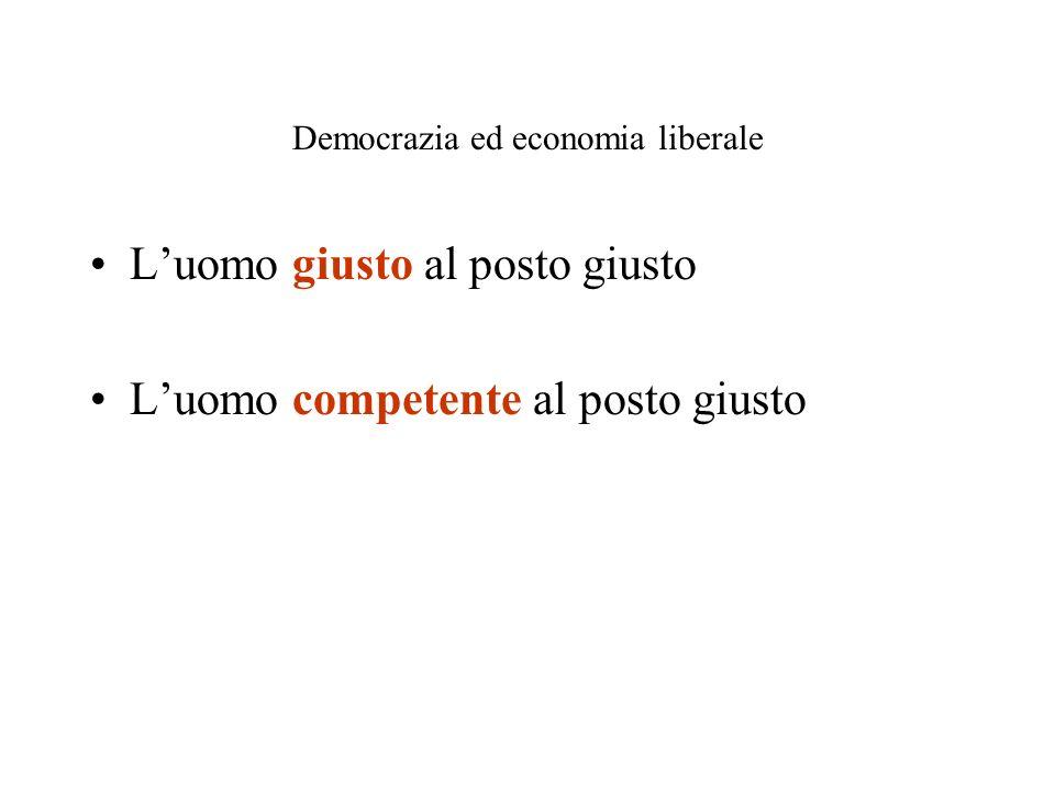 Democrazia ed economia liberale Luomo giusto al posto giusto Luomo competente al posto giusto