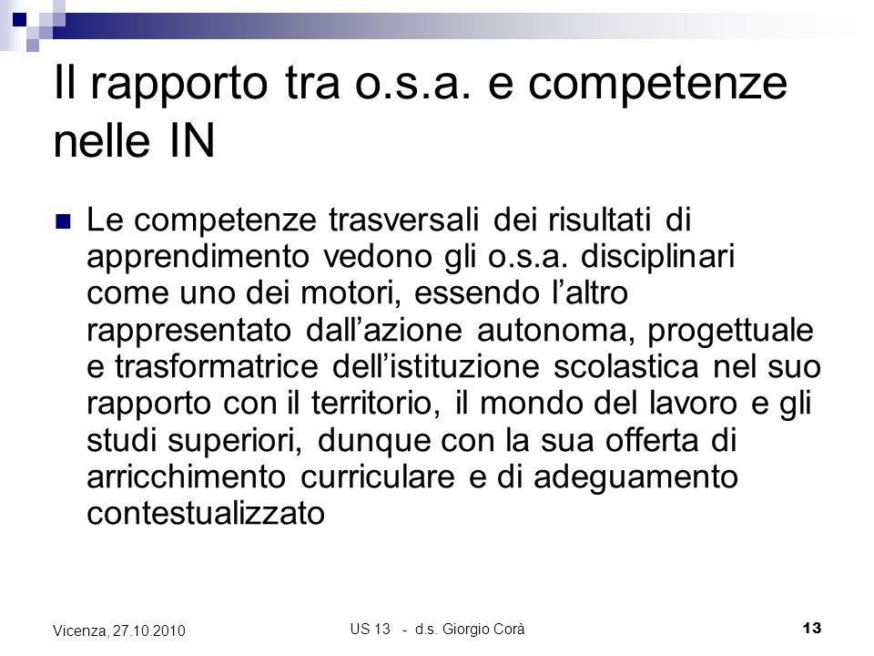 US 13 - d.s. Giorgio Corà13 Vicenza, 27.10.2010 Il rapporto tra o.s.a. e competenze nelle IN Le competenze trasversali dei risultati di apprendimento