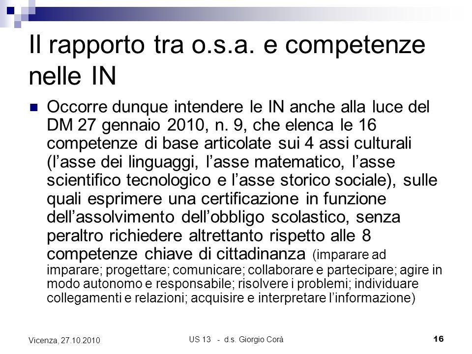 US 13 - d.s. Giorgio Corà16 Vicenza, 27.10.2010 Il rapporto tra o.s.a. e competenze nelle IN Occorre dunque intendere le IN anche alla luce del DM 27
