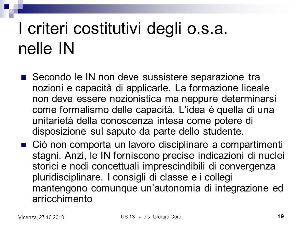 US 13 - d.s. Giorgio Corà19 Vicenza, 27.10.2010 I criteri costitutivi degli o.s.a. nelle IN Secondo le IN non deve sussistere separazione tra nozioni