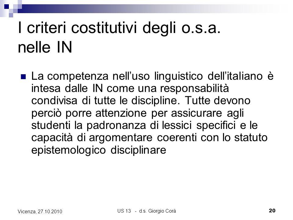 US 13 - d.s. Giorgio Corà20 Vicenza, 27.10.2010 I criteri costitutivi degli o.s.a. nelle IN La competenza nelluso linguistico dellitaliano è intesa da