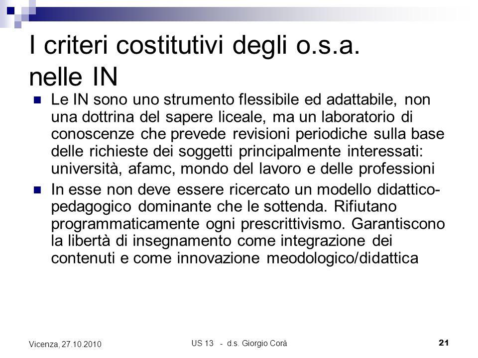 US 13 - d.s. Giorgio Corà21 Vicenza, 27.10.2010 I criteri costitutivi degli o.s.a. nelle IN Le IN sono uno strumento flessibile ed adattabile, non una
