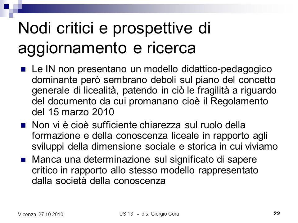 US 13 - d.s. Giorgio Corà22 Vicenza, 27.10.2010 Nodi critici e prospettive di aggiornamento e ricerca Le IN non presentano un modello didattico-pedago