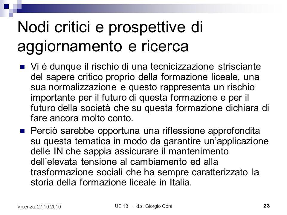 US 13 - d.s. Giorgio Corà23 Vicenza, 27.10.2010 Nodi critici e prospettive di aggiornamento e ricerca Vi è dunque il rischio di una tecnicizzazione st