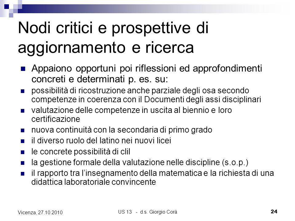 US 13 - d.s. Giorgio Corà24 Vicenza, 27.10.2010 Nodi critici e prospettive di aggiornamento e ricerca Appaiono opportuni poi riflessioni ed approfondi