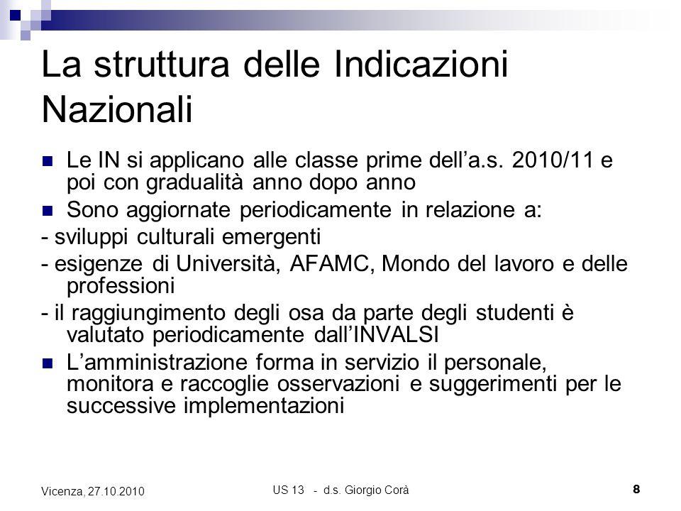 US 13 - d.s. Giorgio Corà8 Vicenza, 27.10.2010 La struttura delle Indicazioni Nazionali Le IN si applicano alle classe prime della.s. 2010/11 e poi co