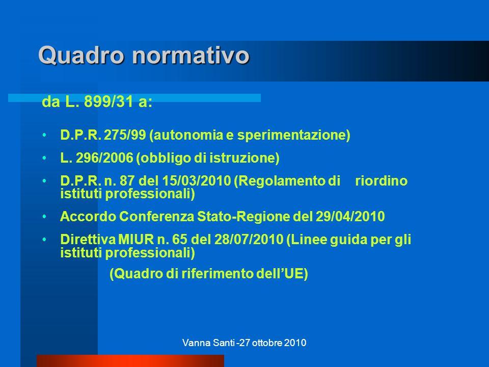 Vanna Santi -27 ottobre 2010 Quadro normativo da L. 899/31 a: D.P.R. 275/99 (autonomia e sperimentazione) L. 296/2006 (obbligo di istruzione) D.P.R. n