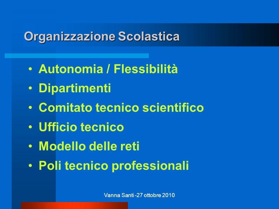 Vanna Santi -27 ottobre 2010 Organizzazione Scolastica Autonomia / Flessibilità Dipartimenti Comitato tecnico scientifico Ufficio tecnico Modello dell