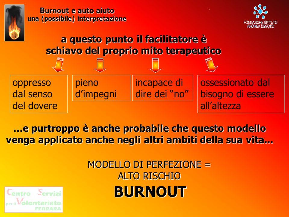Burnout e auto aiuto una (possibile) interpretazione a questo punto il facilitatore è schiavo del proprio mito terapeutico oppresso dal senso del dove