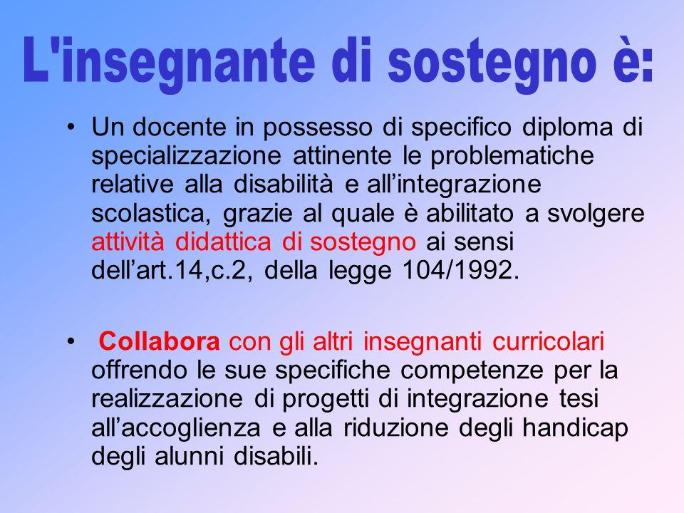 Un docente in possesso di specifico diploma di specializzazione attinente le problematiche relative alla disabilità e allintegrazione scolastica, graz