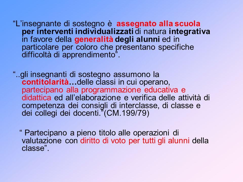 Linsegnante di sostegno è assegnato alla scuola per interventi individualizzati di natura integrativa in favore della generalità degli alunni ed in pa