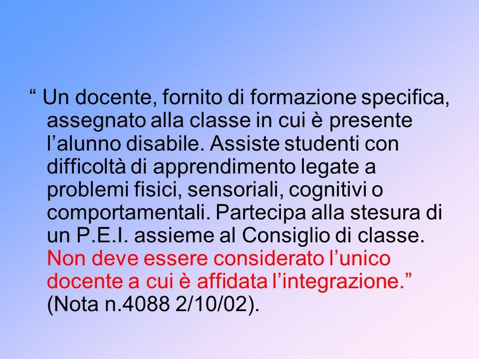Un docente, fornito di formazione specifica, assegnato alla classe in cui è presente lalunno disabile. Assiste studenti con difficoltà di apprendiment