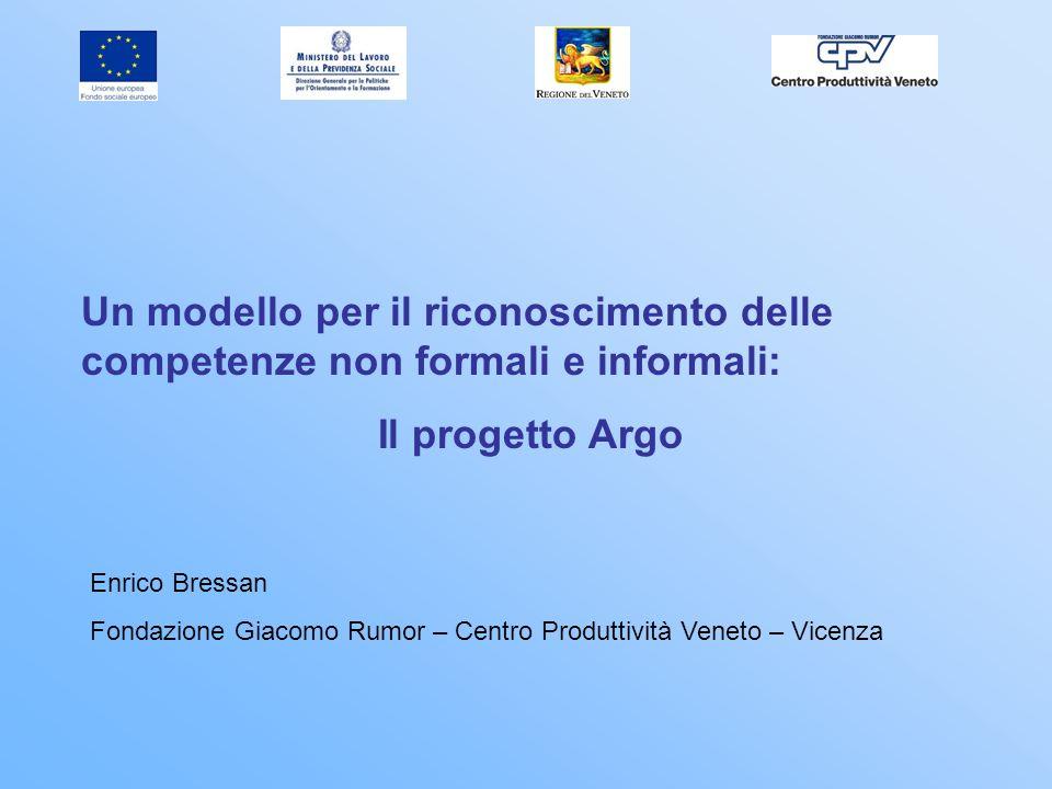 Un modello per il riconoscimento delle competenze non formali e informali: Il progetto Argo Enrico Bressan Fondazione Giacomo Rumor – Centro Produttiv