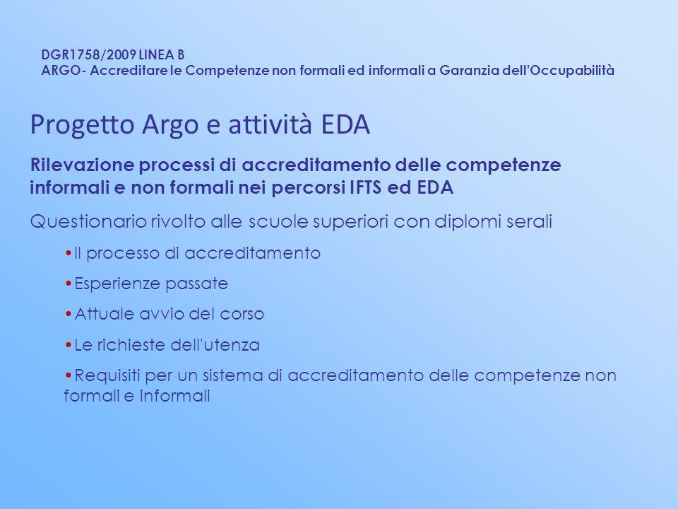 DGR1758/2009 LINEA B ARGO- Accreditare le Competenze non formali ed informali a Garanzia dell'Occupabilità Progetto Argo e attività EDA Rilevazione pr