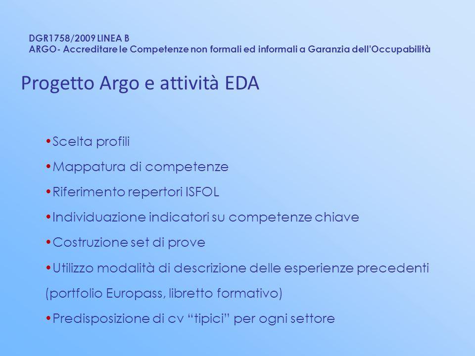 DGR1758/2009 LINEA B ARGO- Accreditare le Competenze non formali ed informali a Garanzia dell'Occupabilità Progetto Argo e attività EDA Scelta profili