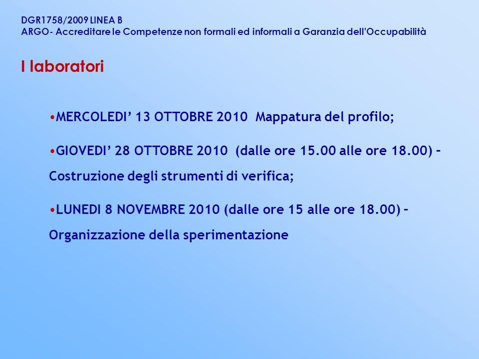 MERCOLEDI 13 OTTOBRE 2010 Mappatura del profilo; GIOVEDI 28 OTTOBRE 2010 (dalle ore 15.00 alle ore 18.00) – Costruzione degli strumenti di verifica; L