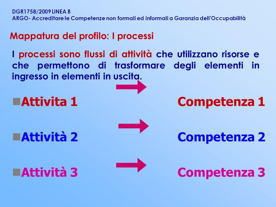 Attivita 1 Competenza 1 Attività 2 Competenza 2 Attività 3 Competenza 3 I processi sono flussi di attività che utilizzano risorse e che permettono di