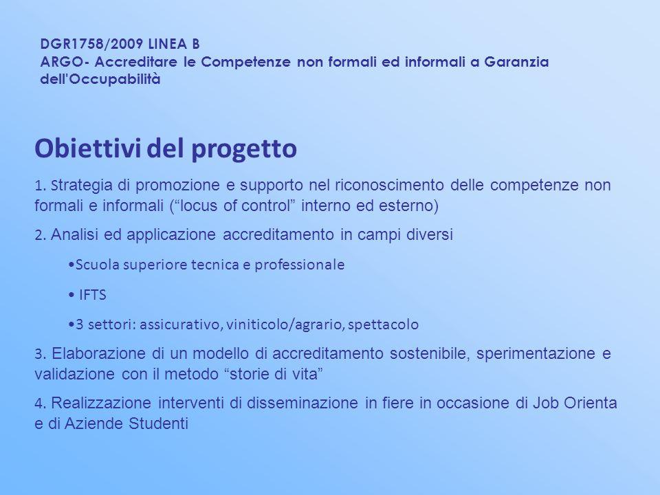 DGR1758/2009 LINEA B ARGO- Accreditare le Competenze non formali ed informali a Garanzia dell'Occupabilità Obiettivi del progetto 1. S trategia di pro