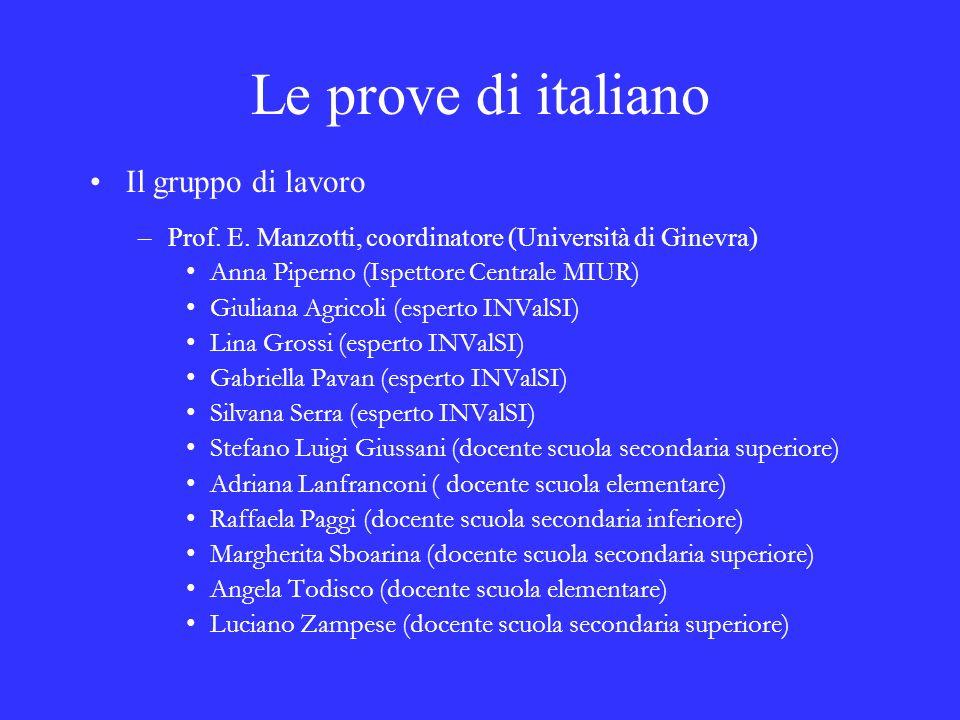 Le prove di italiano Il gruppo di lavoro –Prof. E. Manzotti, coordinatore (Università di Ginevra) Anna Piperno (Ispettore Centrale MIUR) Giuliana Agri