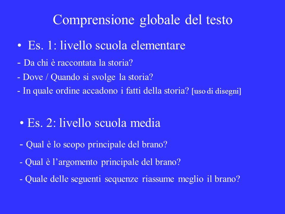 Comprensione globale del testo Es. 1: livello scuola elementare - Da chi è raccontata la storia? - Dove / Quando si svolge la storia? - In quale ordin