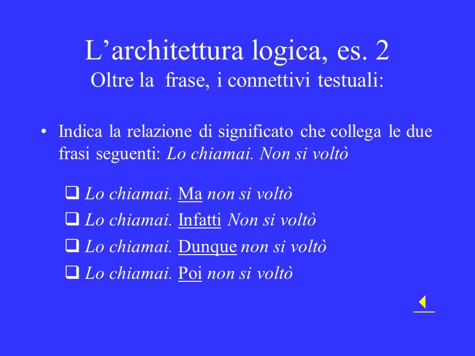 Larchitettura logica, es. 2 Oltre la frase, i connettivi testuali: Indica la relazione di significato che collega le due frasi seguenti: Lo chiamai. N