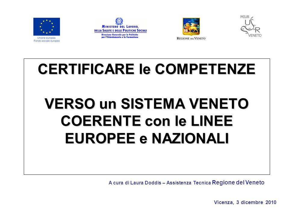 Vicenza, 3 dicembre 2010 CERTIFICARE le COMPETENZE VERSO un SISTEMA VENETO COERENTE con le LINEE EUROPEE e NAZIONALI A cura di Laura Doddis – Assistenza Tecnica Regione del Veneto