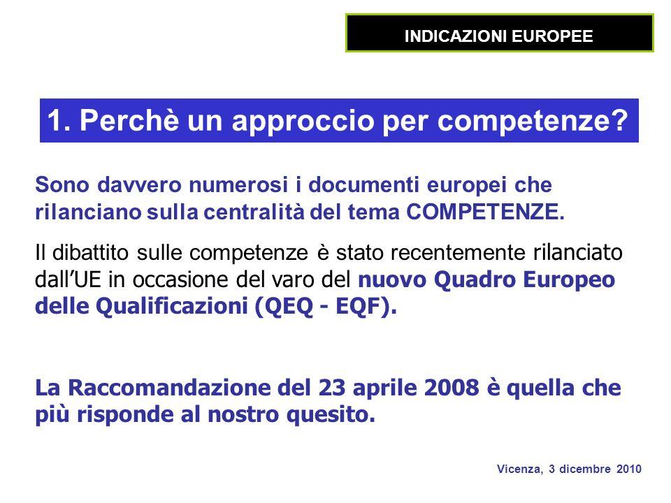 Vicenza, 3 dicembre 2010 Sono davvero numerosi i documenti europei che rilanciano sulla centralità del tema COMPETENZE.