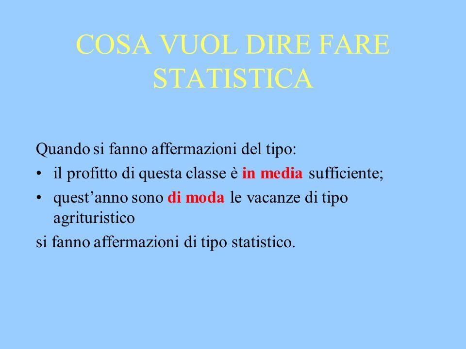 COSA VUOL DIRE FARE STATISTICA Quando si fanno affermazioni del tipo: il profitto di questa classe è in media sufficiente; questanno sono di moda le v