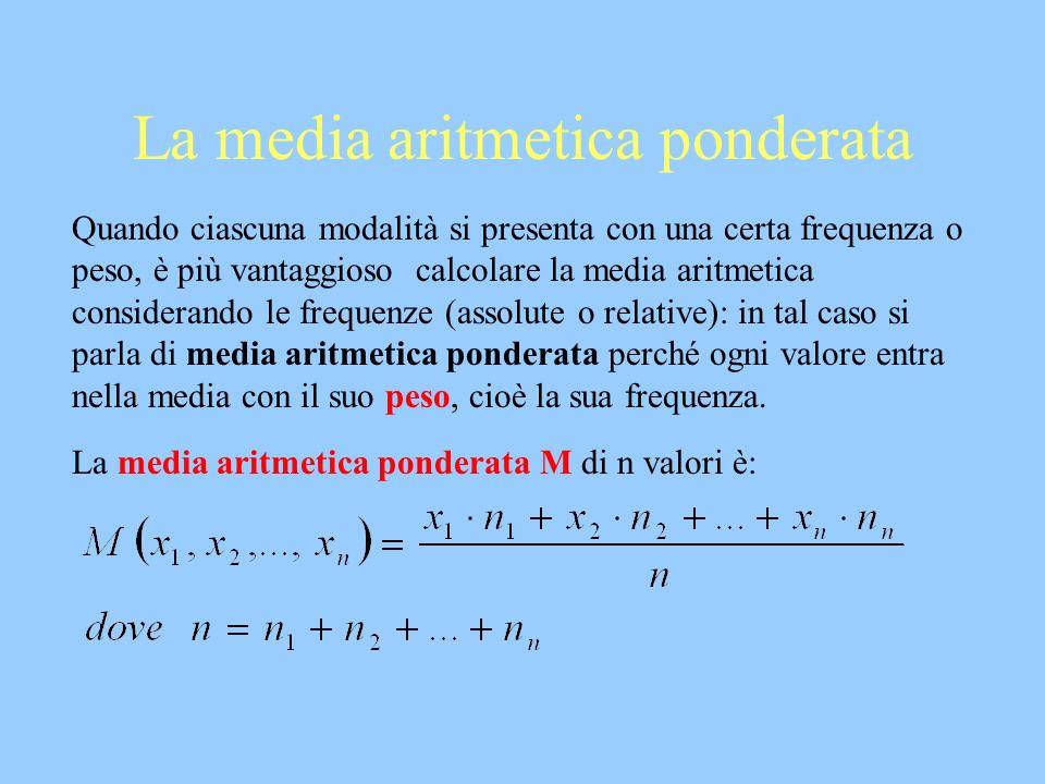 La media aritmetica ponderata Quando ciascuna modalità si presenta con una certa frequenza o peso, è più vantaggioso calcolare la media aritmetica con