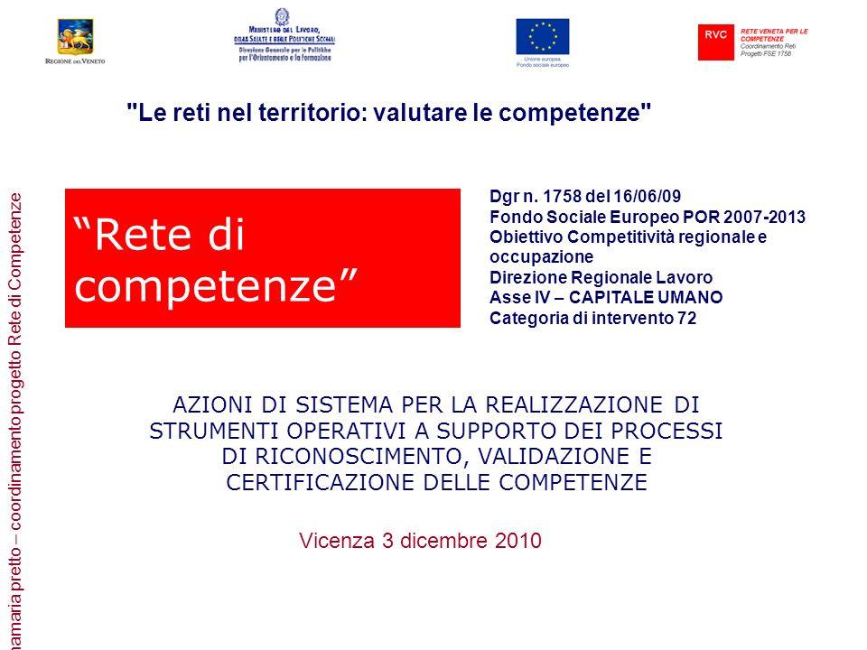 annamaria pretto – coordinamento progetto Rete di Competenze Rete di competenze AZIONI DI SISTEMA PER LA REALIZZAZIONE DI STRUMENTI OPERATIVI A SUPPOR