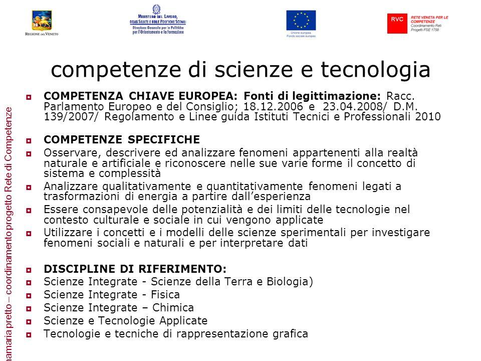 annamaria pretto – coordinamento progetto Rete di Competenze competenze di scienze e tecnologia COMPETENZA CHIAVE EUROPEA: Fonti di legittimazione: Ra