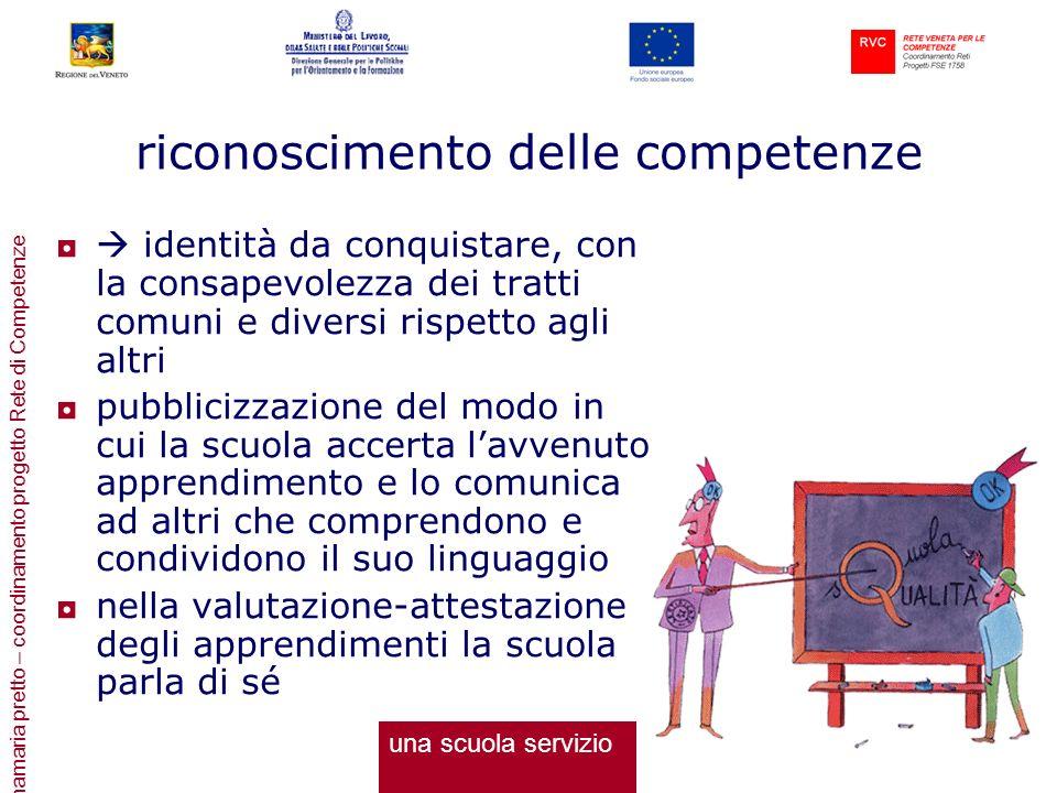 annamaria pretto – coordinamento progetto Rete di Competenze riconoscimento delle competenze identità da conquistare, con la consapevolezza dei tratti