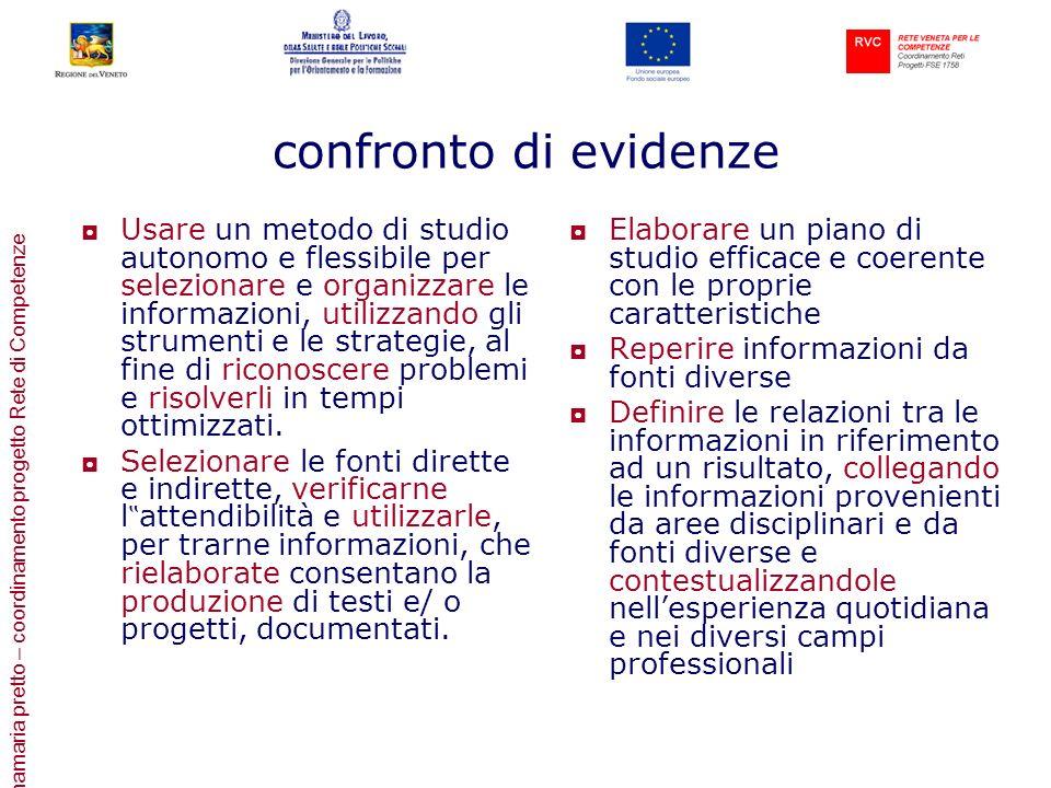 annamaria pretto – coordinamento progetto Rete di Competenze confronto di evidenze Usare un metodo di studio autonomo e flessibile per selezionare e o