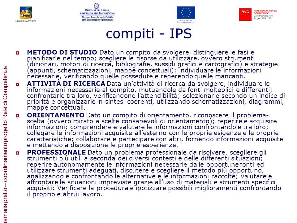 annamaria pretto – coordinamento progetto Rete di Competenze compiti - IPS METODO DI STUDIO Dato un compito da svolgere, distinguere le fasi e pianifi