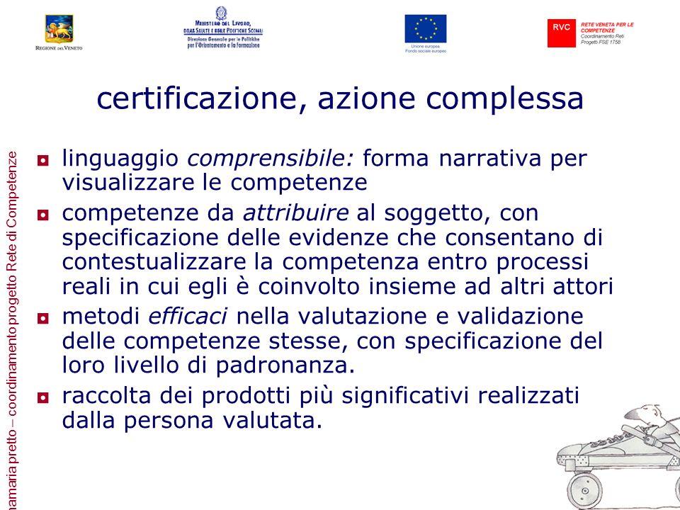 annamaria pretto – coordinamento progetto Rete di Competenze certificazione, azione complessa linguaggio comprensibile: forma narrativa per visualizza