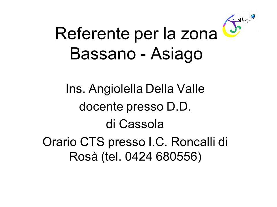 Referente per la zona Bassano - Asiago Ins. Angiolella Della Valle docente presso D.D. di Cassola Orario CTS presso I.C. Roncalli di Rosà (tel. 0424 6