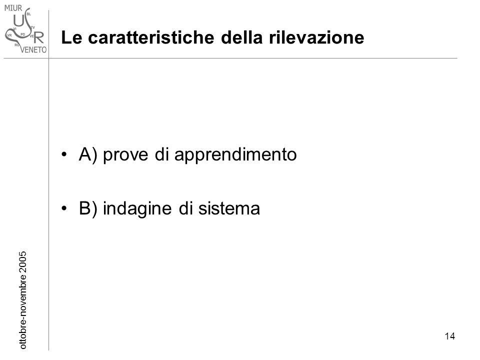 ottobre-novembre 2005 14 Le caratteristiche della rilevazione A) prove di apprendimento B) indagine di sistema