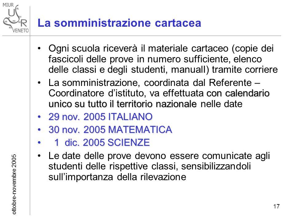 ottobre-novembre 2005 17 La somministrazione cartacea Ogni scuola riceverà il materiale cartaceo (copie dei fascicoli delle prove in numero sufficient