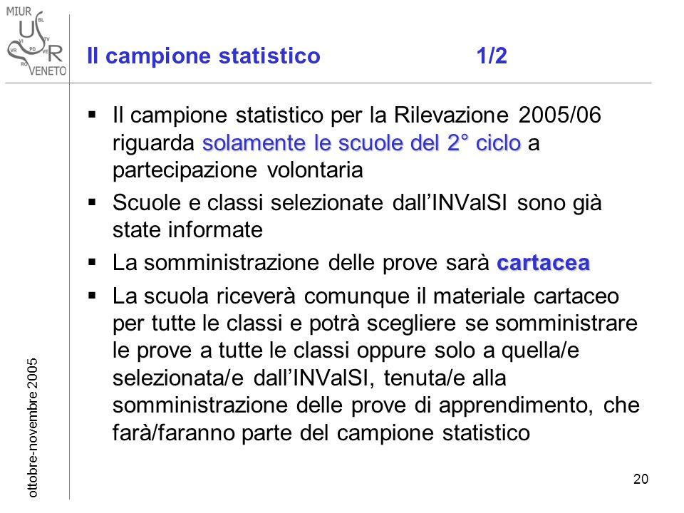 ottobre-novembre 2005 20 Il campione statistico 1/2 solamente le scuole del 2° ciclo Il campione statistico per la Rilevazione 2005/06 riguarda solame
