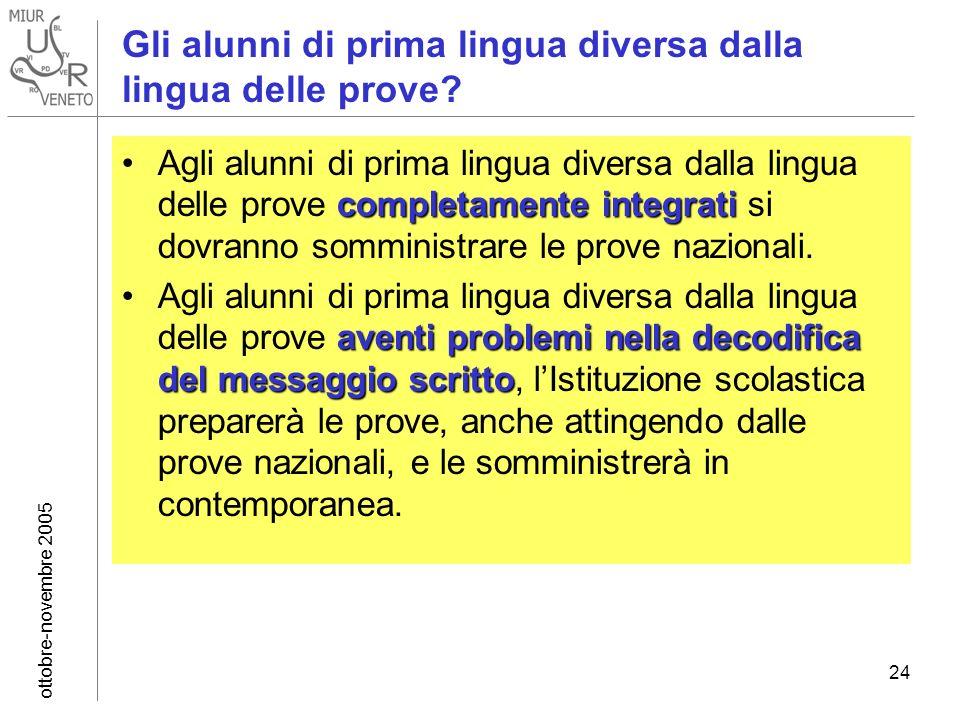 ottobre-novembre 2005 24 Gli alunni di prima lingua diversa dalla lingua delle prove? completamente integratiAgli alunni di prima lingua diversa dalla