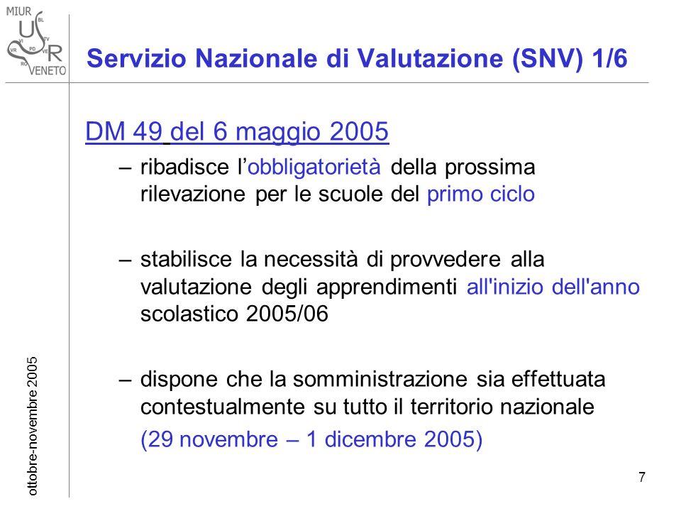 ottobre-novembre 2005 7 Servizio Nazionale di Valutazione (SNV) 1/6 DM 49 del 6 maggio 2005 –ribadisce lobbligatorietà della prossima rilevazione per