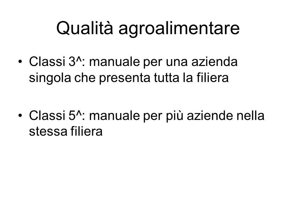 Qualità agroalimentare Classi 3^: manuale per una azienda singola che presenta tutta la filiera Classi 5^: manuale per più aziende nella stessa filiera