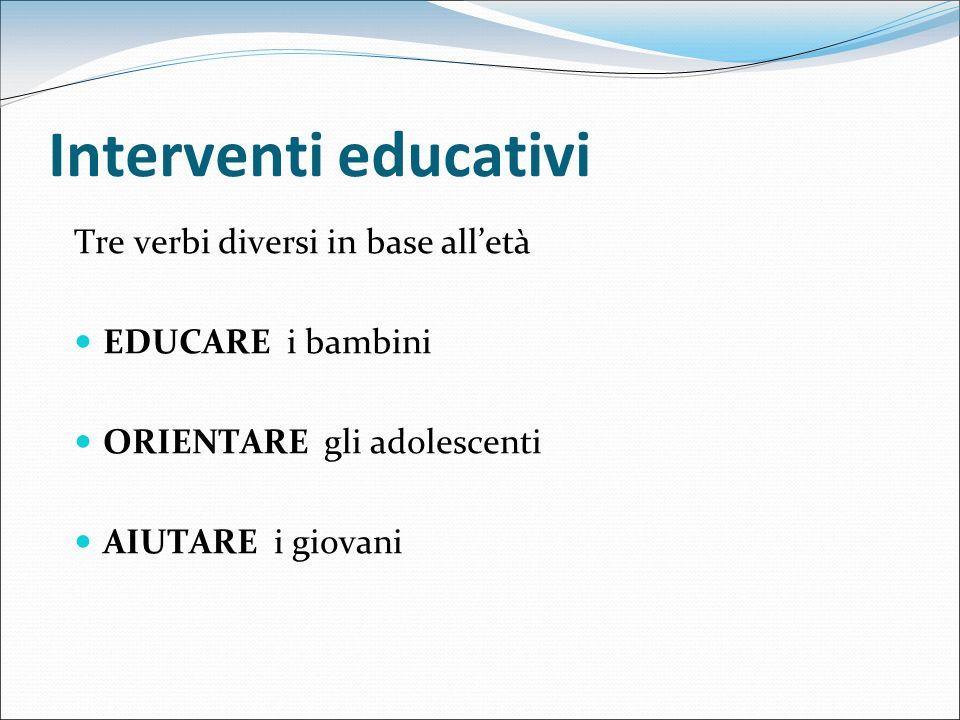 Interventi educativi Tre verbi diversi in base alletà EDUCARE i bambini ORIENTARE gli adolescenti AIUTARE i giovani
