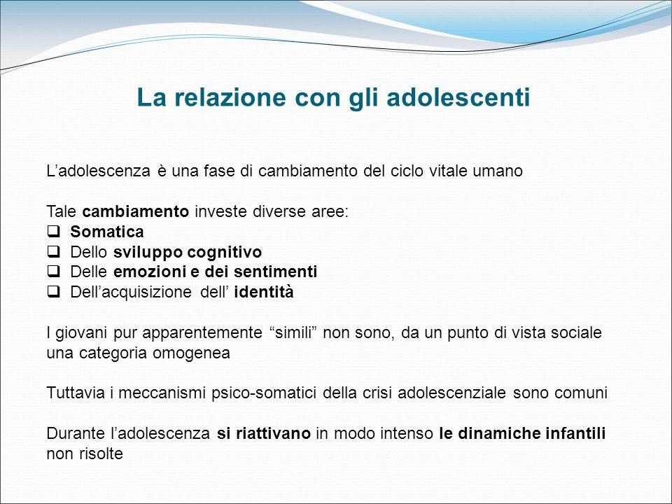 La relazione con gli adolescenti Ladolescenza è una fase di cambiamento del ciclo vitale umano Tale cambiamento investe diverse aree: Somatica Dello s