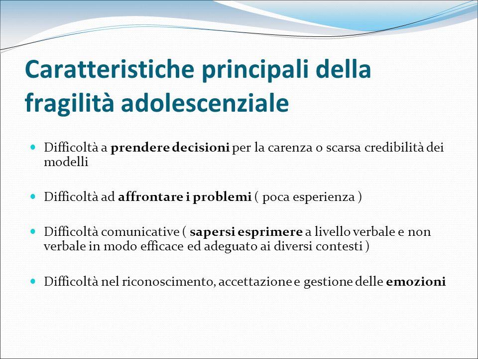 Caratteristiche principali della fragilità adolescenziale Difficoltà a prendere decisioni per la carenza o scarsa credibilità dei modelli Difficoltà a
