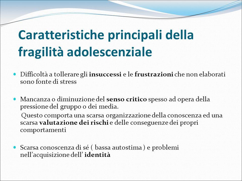 Caratteristiche principali della fragilità adolescenziale Difficoltà a tollerare gli insuccessi e le frustrazioni che non elaborati sono fonte di stre