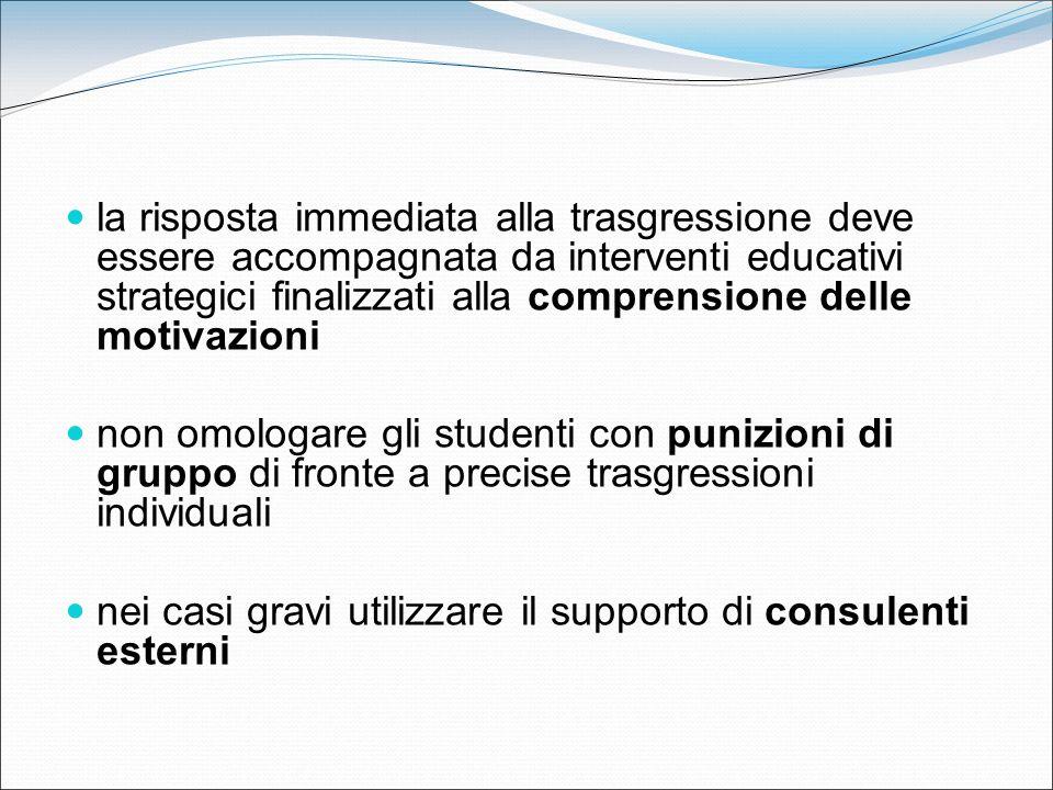 la risposta immediata alla trasgressione deve essere accompagnata da interventi educativi strategici finalizzati alla comprensione delle motivazioni n